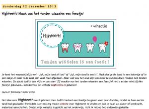 Juf Shanna schrijft over high teeth